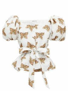 Rodarte - Butterfly Print Cloqué Top - Womens - White Multi