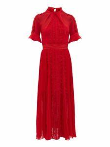 Self-portrait - Twist Neck Georgette Midi Dress - Womens - Dark Red