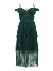 Self-portrait - Off The Shoulder Floral Lace Midi Dress - Womens - Dark Green