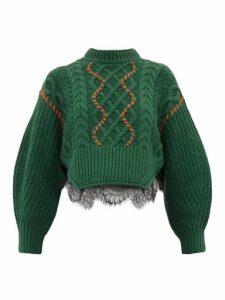 Self-portrait - Chunky Lace Trim Cotton Blend Sweater - Womens - Dark Green