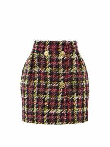 Versace - Bouclé Wool Blend Mini Skirt - Womens - Pink Multi