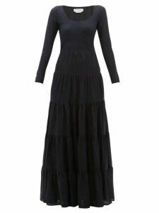 Gabriela Hearst - Slava Tiered Wool Blend Maxi Dress - Womens - Navy