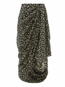 Isabel Marant - Candelia Draped Floral Print Fil Coupé Midi Skirt - Womens - Black White