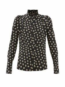 Isabel Marant - Lamia High Neck Floral Print Silk Blouse - Womens - Black Print