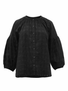 Apiece Apart - Nanook Collarless Check Jacquard Cotton Top - Womens - Black