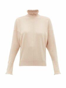 Chloé - Ruffled Cashmere Sweater - Womens - Light Brown