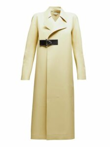Bottega Veneta - Laser Cut Double Breasted Rubber Coat - Womens - Light Yellow