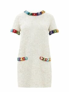 Ashish - Beaded T Shirt Mini Dress - Womens - White