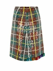 Ashish - Bead Embellished Sequinned Plaid Skirt - Womens - Green Multi