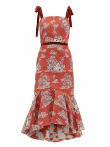 Johanna Ortiz - Pueblo Printed Cotton Blend Midi Dress - Womens - Red Multi
