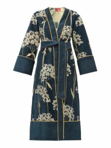 F.r.s - For Restless Sleepers - Nomos Floral Jacquard Chenille Evening Coat - Womens - Navy Multi