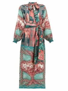 F.r.s - For Restless Sleepers - Brizio Pussy Bow Printed Silk Maxi Dress - Womens - Green Multi