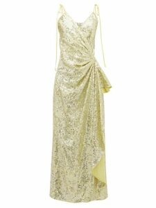 The Attico - Gathered Sequinned Wrap Dress - Womens - Light Gold