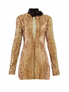 The Attico - Velvet Collar Sequinned Mini Dress - Womens - Gold