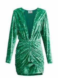 The Attico - Iconic Karolina Crystal Velvet Mini Dress - Womens - Green