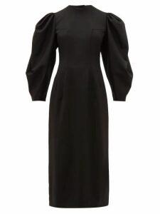 Sara Battaglia - Open Back Balloon Sleeve Wool Blend Twill Dress - Womens - Black