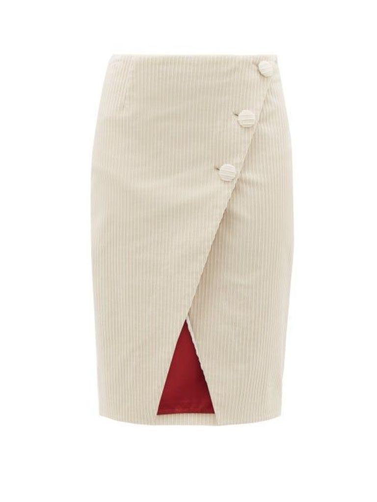 Sara Battaglia - Asymmetric Cotton Blend Jumbo Corduroy Wrap Skirt - Womens - Cream