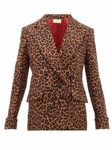 Sara Battaglia - Leopard Print Double Breasted Jacket - Womens - Leopard