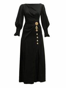 Peter Pilotto - Crystal Embellished Slit Front Satin Dress - Womens - Black