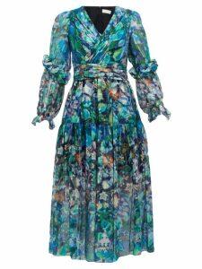 Peter Pilotto - Floral Print Metallic Silk Georgette Midi Dress - Womens - Blue