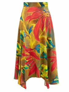 Peter Pilotto - Tropical Print Silk Blend Cloqué Midi Skirt - Womens - Green Multi
