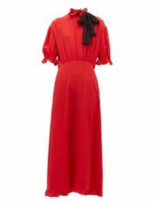 Miu Miu - Pussy Bow Silk Crepe Dress - Womens - Red