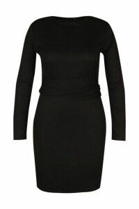 Womens Plus Ribbed Belted Dress - black - 18, Black
