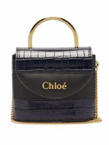 Chloé - Aby Lock Crocodile Effect Leather Cross Body Bag - Womens - Navy