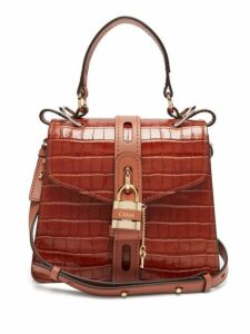 Chloé - Aby Small Crocodile Effect Leather Shoulder Bag - Womens - Brown
