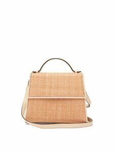 Hunting Season - Top Handle Raffia And Leather Bag - Womens - Beige