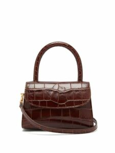 By Far - Mini Crocodile Embossed Leather Handbag - Womens - Dark Brown