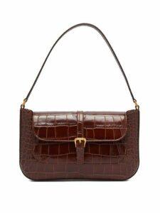 By Far - Miranda Crocodile Effect Leather Shoulder Bag - Womens - Dark Brown