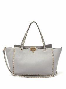 Valentino - Rockstud Medium Leather Tote Bag - Womens - Light Grey