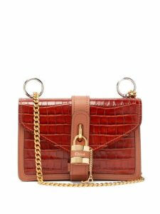 Chloé - Aby Crocodile Embossed Leather Shoulder Bag - Womens - Brown