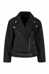 Womens Petite Washed Denim Biker Jacket - Black - 4, Black