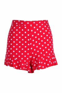 Womens Spot Woven Ruffle Hem Flippy Shorts - red - 10, Red