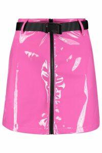 Womens PU Patent Buckle Mini Skirt - Pink - S, Pink