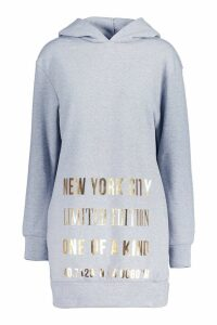 Womens New York Foil Print Roll Neck Sweatshirt Dress - grey - S/M, Grey