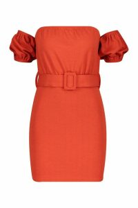 Womens Off The Shoulder Belted Bodycon Dress - orange - 10, Orange