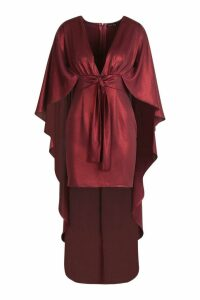 Womens Premium Foiled Satin Belted Cape Dress - red - 14, Red