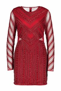 Womens Premium Embellished Mesh Cut Out Mini Dress - red - 12, Red
