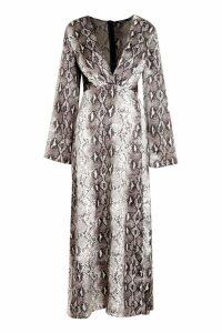 Womens Snake Print Revere Collar Maxi Shirt Dress - grey - 12, Grey