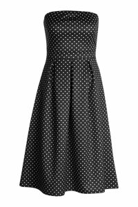 Womens Polka Dot Bandeau Midi Skater Dress - black - 8, Black
