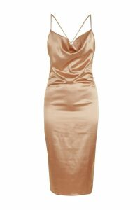 Womens Cowl Front Satin Midi Dress - beige - 22, Beige