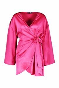 Womens Satin Wide Sleeve Wrap Dress - Pink - 12, Pink