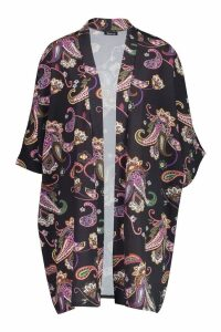 Womens Woven Paisley Print Kimono - black - 6, Black