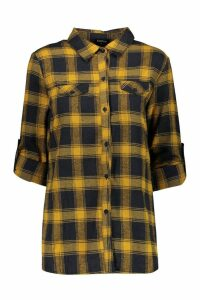 Womens Brushed Check Cotton Oversized Shirt - yellow - 8, Yellow