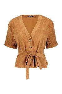 Womens Button Down Belted Cord Shirt - beige - 10, Beige