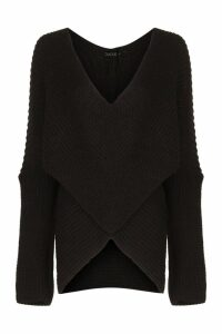Womens Wrap Front Knitted Jumper - black - S/M, Black