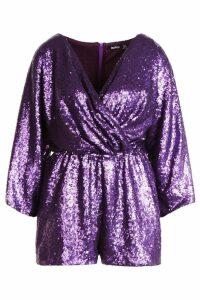 Womens Sequin Twist Front Kimono Sleeve Playsuit - purple - 8, Purple